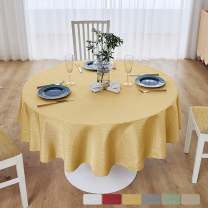M Morefeel Artlavie 70 inch Round Tablecloth, Waterproof Fall Tablecloth for Round Tables, Dining Room, Outdoor, Machine Washable Table Cover (Yellow)