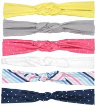 Simple Joys by Carter's Toddler Girls' Printed and Solid Soft Jersey Head-wraps for Infants and Toddlers