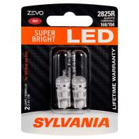 SYLVANIA ZEVO 2825 T10 W5W Red LED Bulb, (Contains 2 bulbs)