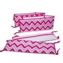 Bacati Ikat Zigzag Bumper Pad (Pink)