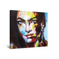 Startonight Canvas Wall Art Abstract Painting - Eva Woman with Hispanic Features 32 x 32 inches