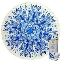 Mimosa Inc Round Beach Towel Ultra Plush 100% Cotton Terry Velour Throw Mat with Thick Artisan Tassels, 5ft, Samundar