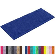 LuxUrux Bath Mat-Extra-Soft Plush Bath Shower Bathroom Rug,1'' Chenille Microfiber Material, Super Absorbent Shaggy Bath Rug. Machine Wash & Dry (27''x 47 inches, Blue)