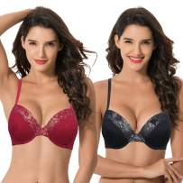 Curve Muse Women's Plus Size Add 1 and a Half Cup Push Up Underwire Lace Bras