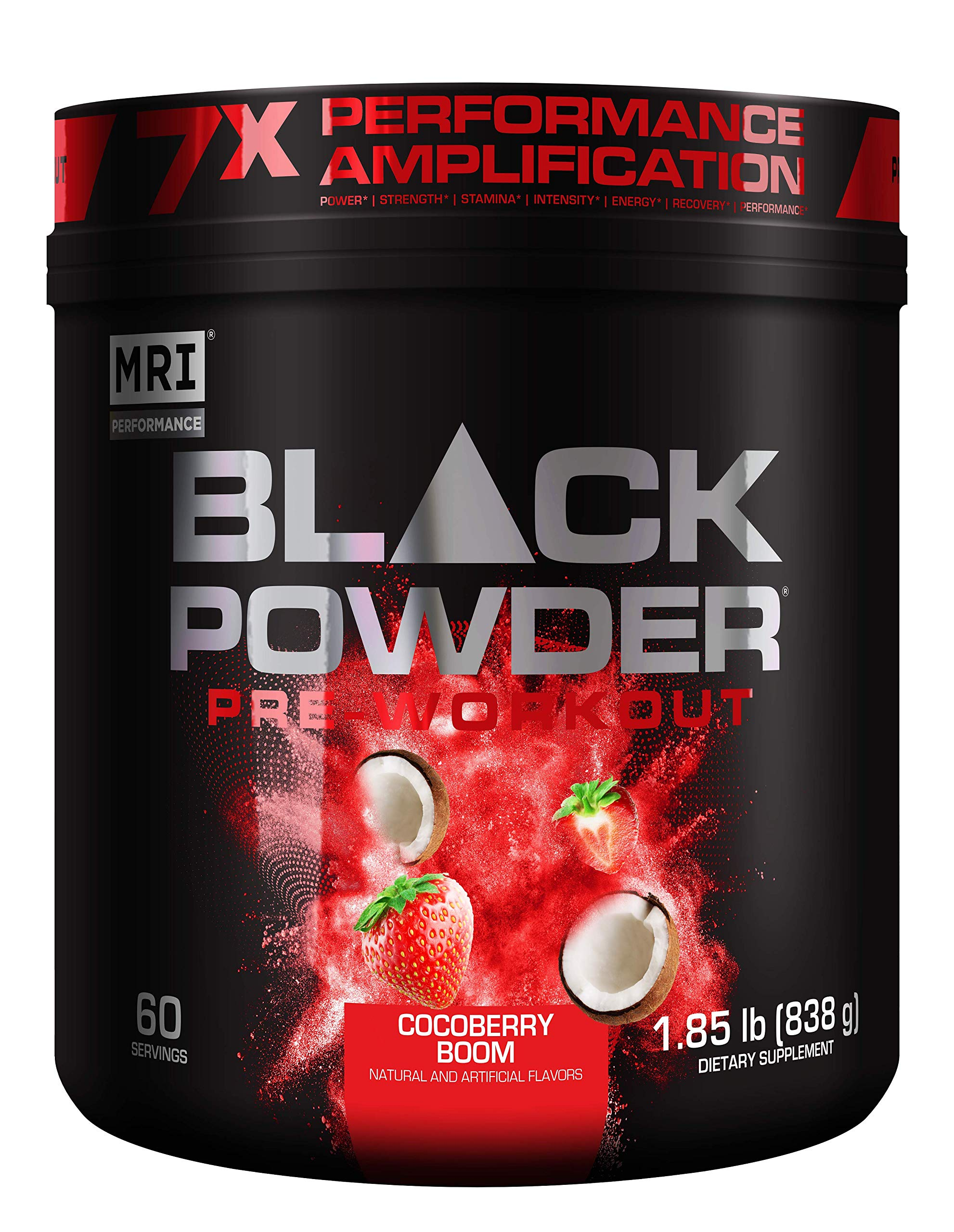 MRI Black Powder Pre-Workout Powder - Explosive Energy & Stamina - Intense Strength and Focus - Build Muscle - Recover Faster – Creatine - 60 Servings (Cocoberry Boom)