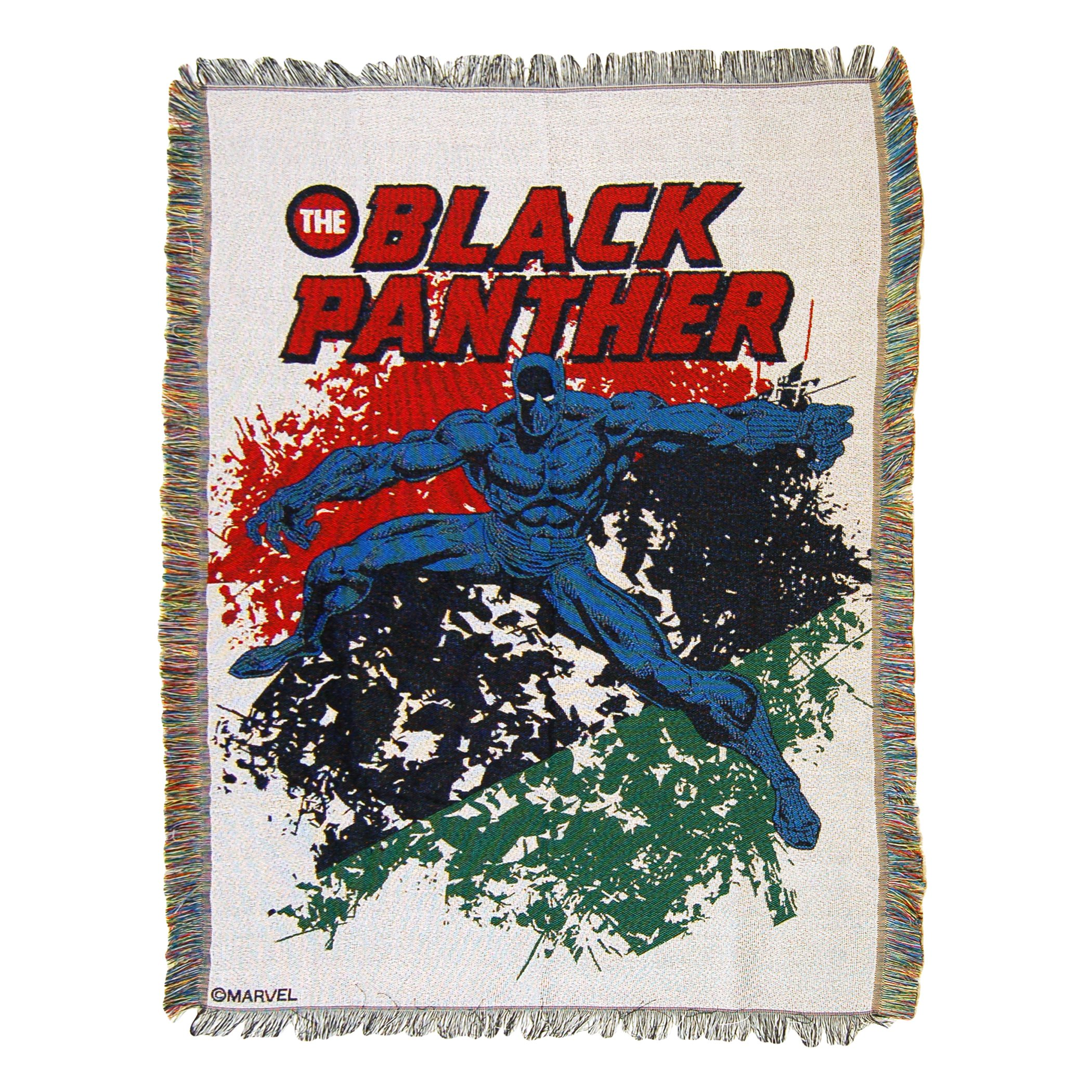 """Marvel's Black Panther, """"Panther Defend"""" Woven Tapestry Throw Blanket, 48"""" x 60"""", Multi Color"""