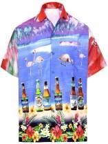 LA LEELA Men's Golf Front Pocket Short Sleeve Hawaiian Shirt