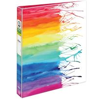 """Avery + Amy Tangerine Designer Collection Binder, 1"""" Round Rings, 175-Sheet Capacity, Watercolor Rainbow (28322)"""