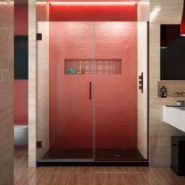 DreamLine Unidoor Plus 57 1/2 - 58 in. W x 72 in. H Frameless Hinged Shower Door in Oil Rubbed Bronze, SHDR-245757210-06
