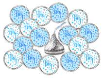 324 Its a Boy Blue Kisses Labels For Baby Shower Or Baby Sprinkle Party Or Event, Stickers, Wrappers, Favors