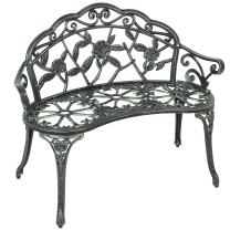 Best Choice Products 39in Outdoor Floral Rose Accented Metal Garden Patio Park Bench w/Antique Finish - Black