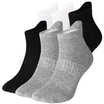 WANDER Mens Ankle Athletic Socks Low Cut 6 Pairs Running Cushion Sport Tab Socks 6-9/10-12
