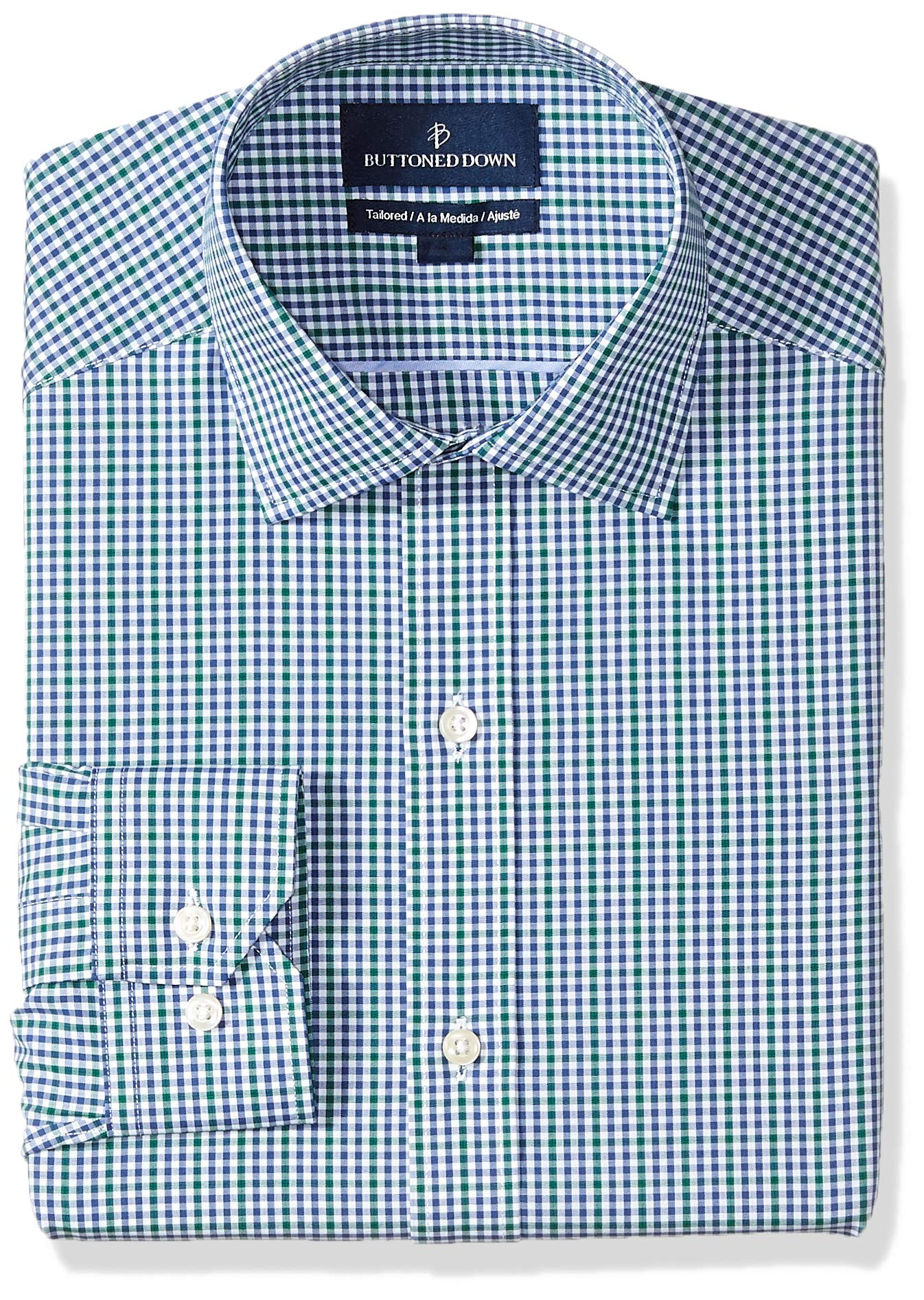 Amazon Brand - BUTTONED DOWN Men's Tailored Fit Gingham Dress Shirt, Supima Cotton Non-Iron
