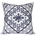 SLOW COW Cotton Embroidery Decorative Throw Pillow Cover for Couch Sofa Bedroom Modern Kaleidoscope Accent Pillow Cushion Cover 18 x 18 Inches Navy Blue