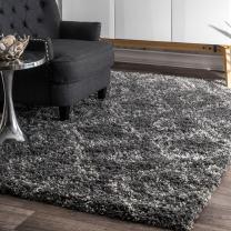 nuLOOM Iola Soft & Plush Shag Area Rug, 4' X 6', Grey