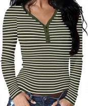 Roselux Women's Long Sleeve Solid Sexy V Neck Knit Ribbed Henley Shirt Blouse Tops