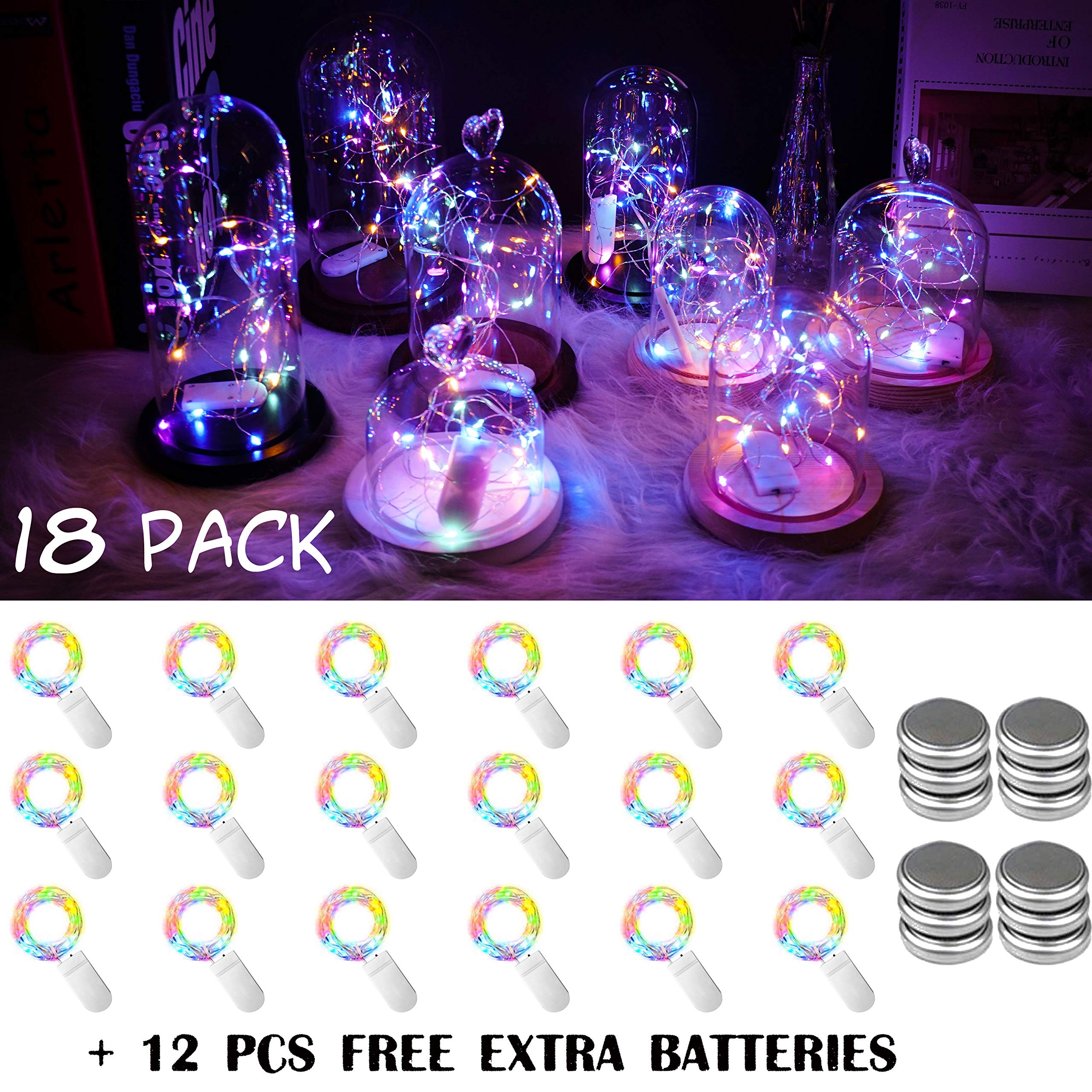 18 Pack Fairy String Lights Battery Operated String Lights with 20 Micro LEDs on 2M Silver Copper Wire Starry String Light for DIY Party Christmas Costume Wedding Easter Table Decorations (Colorful)