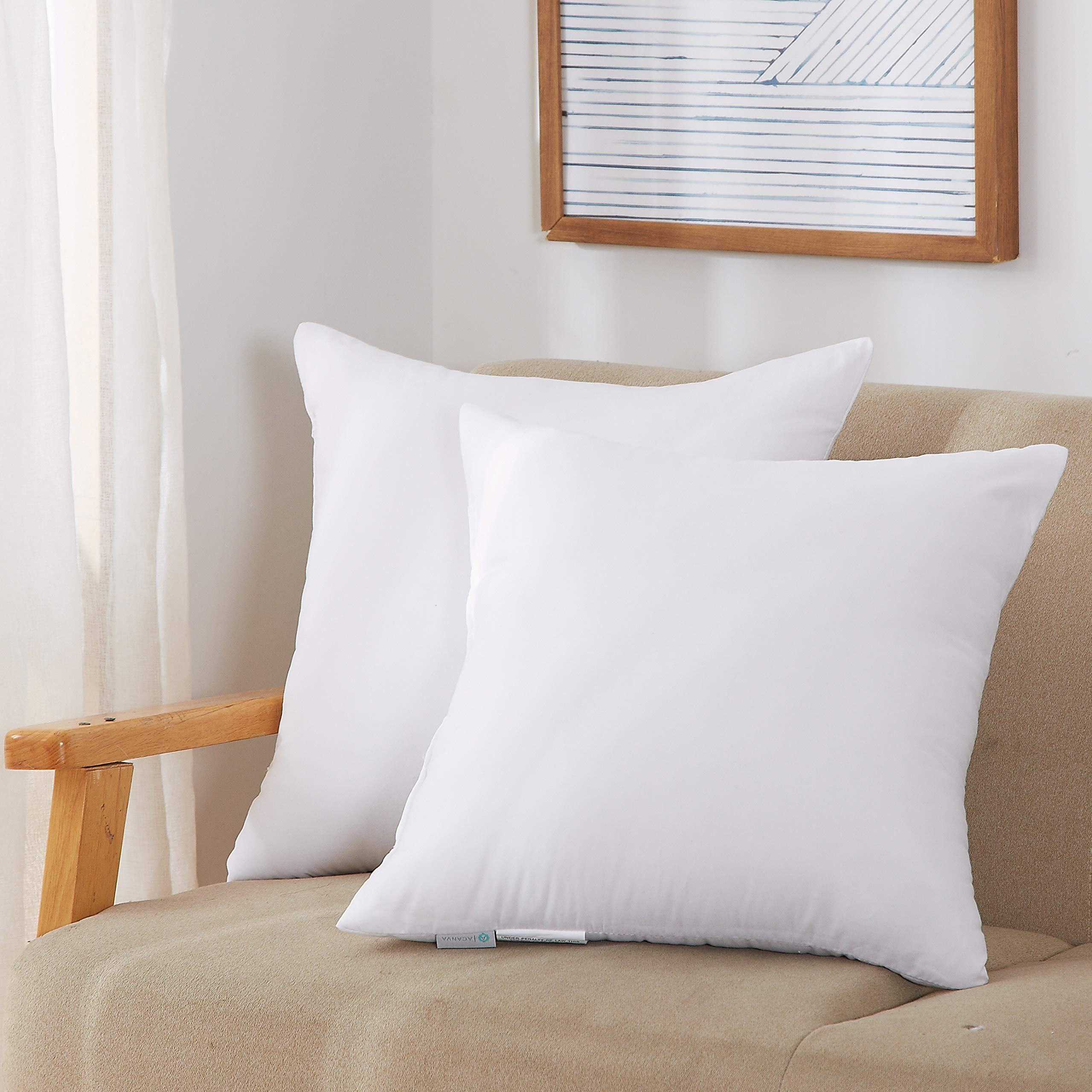 """Acanva Throw Pillow Inserts Soft Couch Stuffer Hypoallergenic Polyester Square Form Washable Cushion Euro Sham Filler, 16""""-2P, White"""