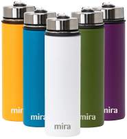 MIRA 22 Oz Stainless Steel Vacuum Insulated Wide Mouth Water Bottle - Thermos Keeps Cold for 24 hours, Hot for 12 hours - Double Walled Hydro Travel Flask - White