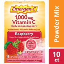 Emergen-C 1000mg Vitamin C Powder, with Antioxidants, B Vitamins and Electrolytes, Immunity Supplements for Immune Support, Caffeine Free Fizzy Drink Mix, Raspberry Flavor - 10 Count