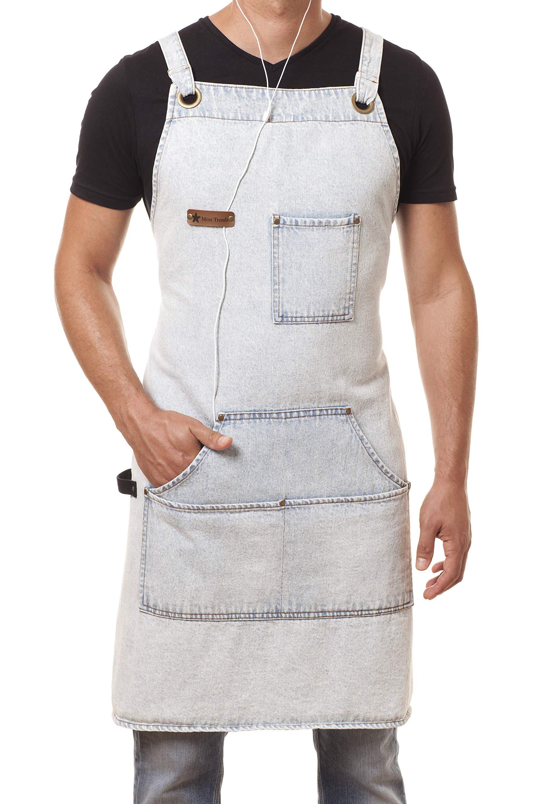 ARAWAK BRAVE Distressed Denim Apron Chef Kitchen BBQ Grill Light Blue Towel Loop + Quick Release Buckle + Tool Pockets Adjustable M to XXL