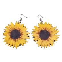 EZUY GNAY Bohemia Sunflower Drop Earrings 3D Wooden Sun flower Eardrop jewelry for women Mom Sterling Accessories