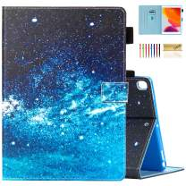 Dteck Kids Case for iPad 10.2 2019 7th Generation - Slim Fit Premium PU Leather Folio Stand Smart Shockproof Full Protective Cover with Pencil Holder, Auto Wake/Sleep, Wallet Pocket, Blue Sky