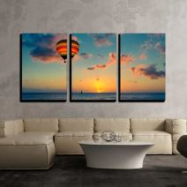 """wall26 - 3 Piece Canvas Wall Art - Hot air Balloon with Sunset at The sea Background - Modern Home Decor Stretched and Framed Ready to Hang - 16""""x24""""x3 Panels"""