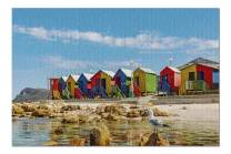 Muizenberg, Cape Town, South Africa - Colorful Cabins on Beach 9005071 (19x27 Premium 1000 Piece Jigsaw Puzzle, Made in USA!)