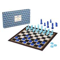 Ridley's AGAM082 Classic 2-in-1 57Piece Chess & Checkers Folding Family Board Game, Ages 8+, Blue