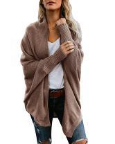 Mafulus Womens Cardigan Sweaters Oversized Open Front Batwing Chunky Knit Outwear