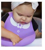 Nuby On-The-Go 3-D Silicone Feeding Bib, Purple Flower Dress