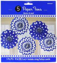 Amscan 298901.105 Party Supplies Printed Paper Fans-Bright Royal Blue, 8 inches