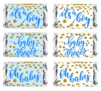 60 Blue Oh Baby Boy Baby Shower Miniatures Candy Bar Wrapper, Its a Boy Baby Shower Miniatures Candy Bar Stickers, White and Blue