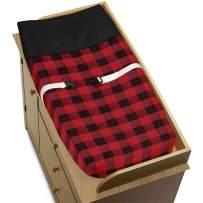 Sweet Jojo Designs Woodland Buffalo Plaid Boy Baby Nursery Changing Pad Cover - Red and Black Rustic Country Lumberjack
