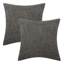 Lewondr Fine Linen Throw Pillow Cover, Set of 2 Square Soft Woven Fine Throw Pillow Case Sham Sofa Cushion Decoration Solid Color Pillowcase 18 x 18 Inch - Dark Gray