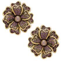 "Heidi""Daus Passionate Posey"" all Swarovski Floral Earrings (OMEGA)"