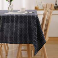 Deconovo Striped Rectangle Tablecloth 54 x 120 Inch Navy Blue Wrinkle Resistant Table Cover for Family Dinners Parties Hotels and More