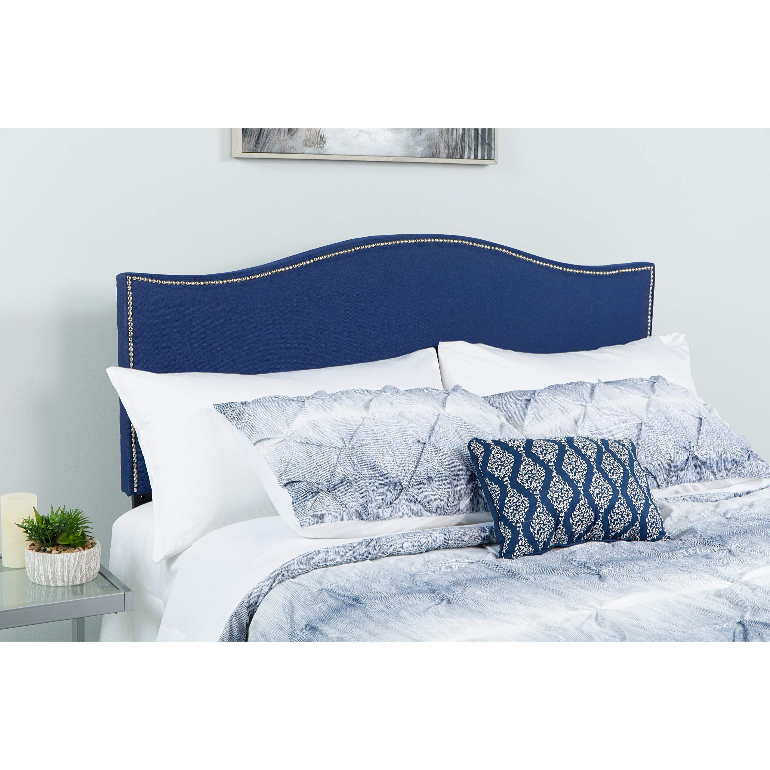Flash Furniture Lexington Upholstered Full Size Headboard with Accent Nail Trim in Navy Fabric