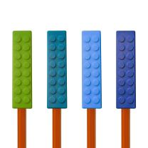 Munchables Chewable Sensory Pencil Toppers - Set of 4 Chew Blockz (Green/Ocean/Blue/Navy)
