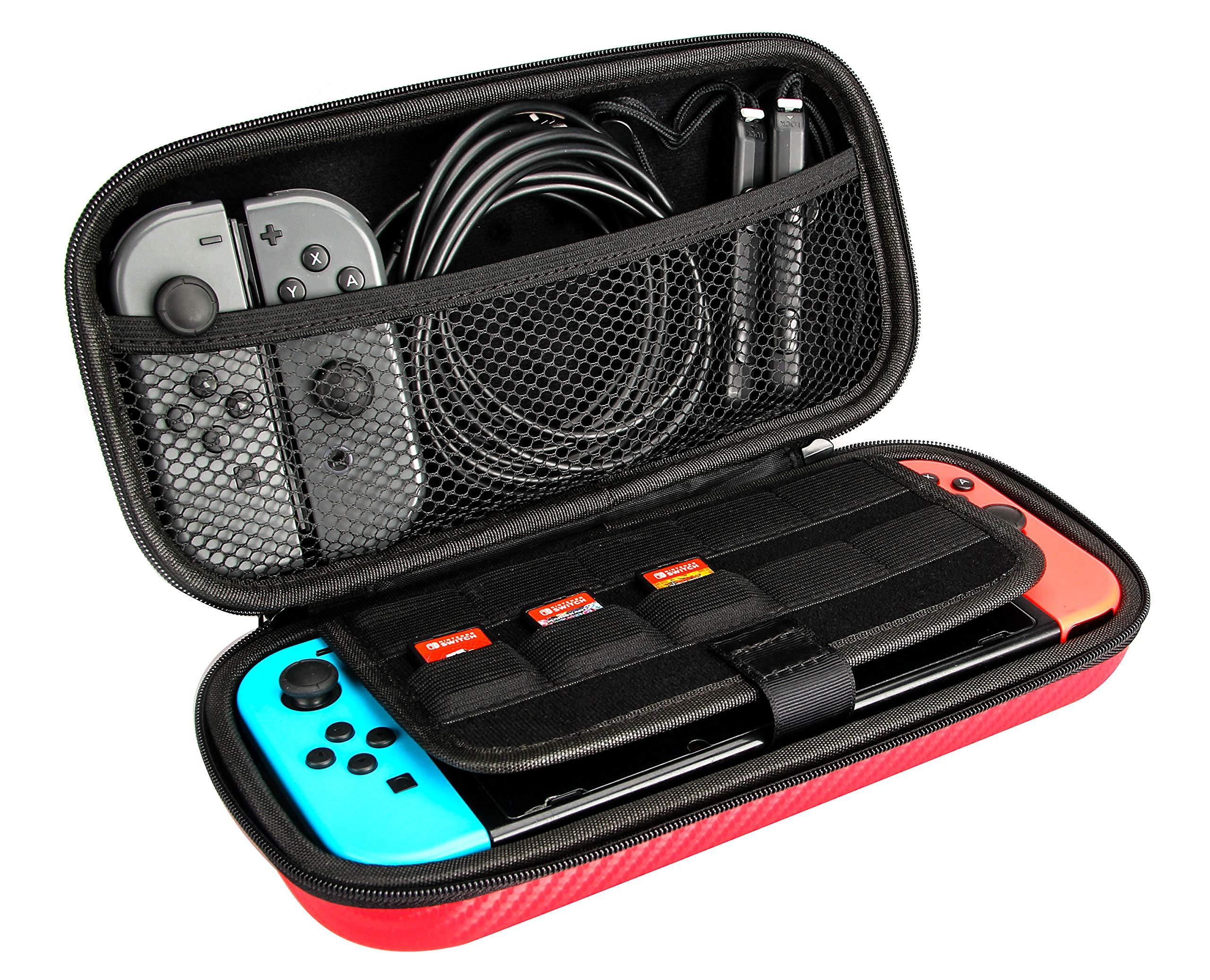 Amazon Basics Carrying Case for Nintendo Switch and Accessories - Red
