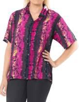 LA LEELA Women's Club Hawaiian Shirt Short Sleeve Work Casual Shirt Hand Tie Dye