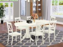 7 Pc Dining-Room Set Table With Leaf And Six Wood Seat Dining Chairs