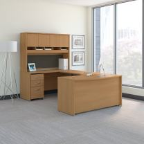 Bush Business Furniture Series C 60W Left Handed Bow Front U Shaped Desk with Hutch and Storage in Light Oak
