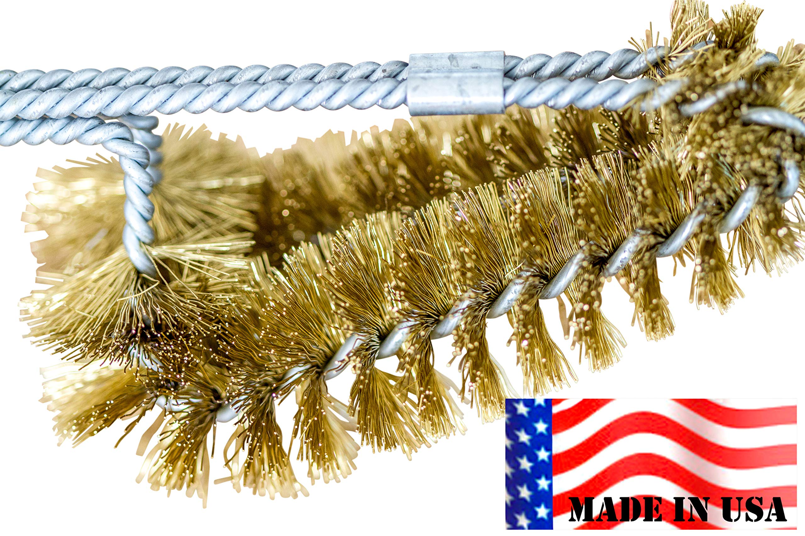"""Backyard Dudes BBQ Grill Cleaning Brass Brush 15"""" -Made in USA -Heavy Duty Real Brass Extra Wide Two Levels of bristles are Soft Safe for Porcelain Enamel grates (15 Inches)"""