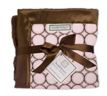 SwaddleDesigns Stroller Blanket, Cozy Microfleece, Brown Mod Circles on Pastel Pink with Satin Trim