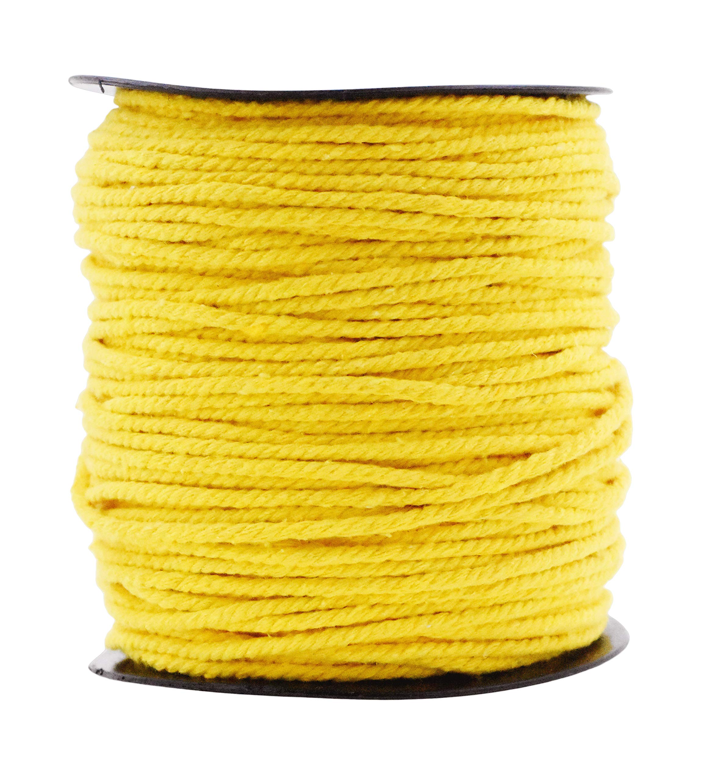 Macrame Cord Cotton Rope Macrame Supplies 3 Ply Twisted Macrame Rope String Yarn for Plant Hanger Wall Hanging Knitting Wedding Décor by Mandala Crafts Yellow 3mm 109 Yards