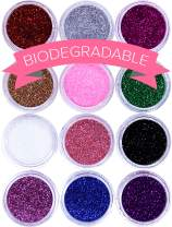 BIODEGRADABLE Glitter for Gel Nail Art Pots Set, ULTRA FINE DUST POWDER, Face Paint Makeup, Hair, Shellac Nail Polish Craft, Festival Party Colors   Brush Body Tattoos Make Up Sets for Kids Children