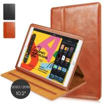 """KAVAJ Case Leather Cover Hamburg Works with Apple iPad 2019 10.2"""" Cognac-Brown Genuine Cowhide Leather with Built-in Five Stand Auto Wake/Sleep Function. Slim Fit Smart Folio Covers"""