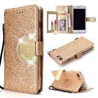 UEEBAI Wallet Flip Case for iPhone Xs Max, Glitter PU Leather Cover with Mirror [Diamond Buckle] [Card Slots] [Magnetic Clasp] Stand Function Rhinestones Soft TPU Case for iPhone Xs Max - Gold#2